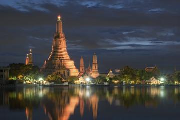 Wat Arun Temple at night in bangkok Thailand.