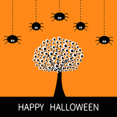 Happy Halloween card. Black tree silhouette with eyes. Plant branch. Spider hanging Dash line. Cute cartoon character set. Spooky baby illustration collection. Flat design. Orange background.