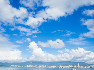 Soft focus of fantastic white clouds against blue sky in sunny day over Penang Island.