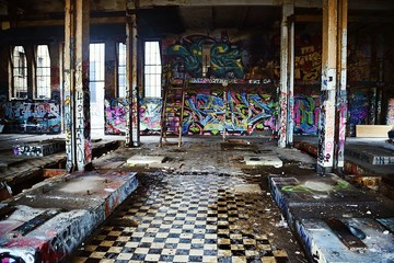 Graffiti on old walls in an abandoned building