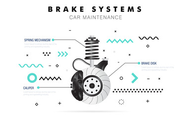 Auto service. Geometry line composition. Trendy technology operations. Diagnostics machine centre. Car maintenance. Awesome zigzag really thin style. Automobile engine pictogram and icons for web.