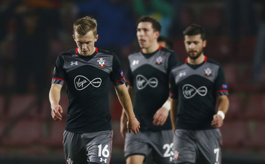 Southampton's James Ward-Prowse looks dejected after Sparta Prague's Costa Nhamoinesu scores their first goal