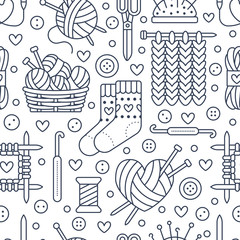Knitting, crochet seamless pattern. Cute vector flat line illustration of hand made equipment knitting needle, hook, wool, scissors, cotton skeins. Background for yarn tailor store. Knitted with love.