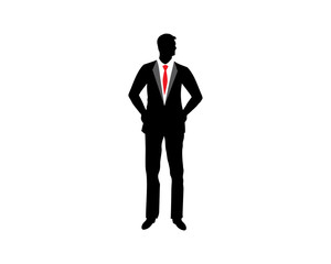 Silhouette illustration of a businessman running riching the star with briefcase, business, energetic, dynamic concept