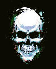 Skull Artistic Splatter Light Blue n Green