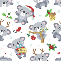 vector cartoon koala christmas kawaii seamless white pattern