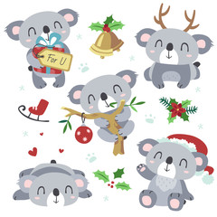 vector cartoon koala christmas kawaii set
