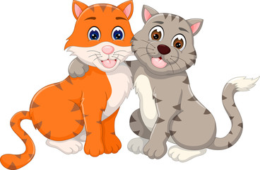 lovely cat cartoon with hug and laughing