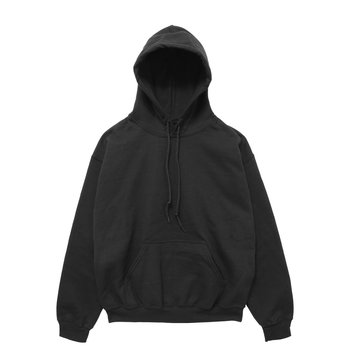 blank hoodie sweatshirt color black front view on white background