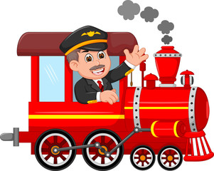 cheerful cartoon train with smile conductor waving