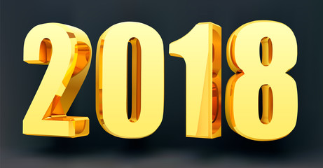Date 2018 on a black background in 3d format. Gold Shining 2018 Happy New Year Banner. Vector illustration
