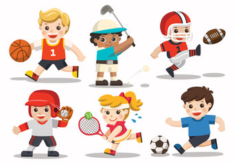 Team sports for kids including Football, Basketball, American Football, Baseball, Tennis, Golf.