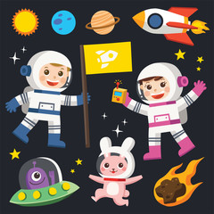 Conquest of space. Space elements. Planet earth, sun and galaxy, spaceship and star, moon and small kids astronaut, vector illustration.