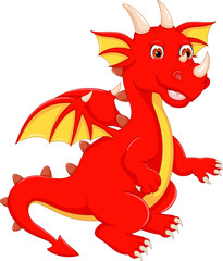 cute cartoon red dragon with stand up