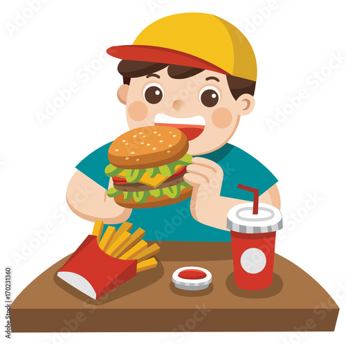 quot a cute boy eat hamburger with french fries  and soda he french fries clipart png french fries clip art free