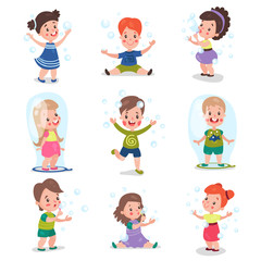 Cute little girls and boys blowing and playing with soap bubbles, set of cartoon vector Illustrations