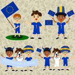 Set of boys with national flags of European Union. Blanks for the day of the flag, independence, nation day and other public holidays. The guys in sports form with the attributes of the football team