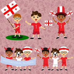 Set of boys with national flags of Georgia. Blanks for the day of the flag, independence, nation day and other public holidays. The guys in sports form with the attributes of the football team