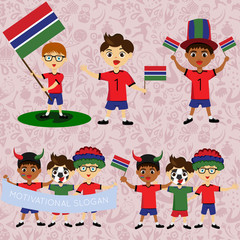Set of boys with national flags of Gambia. Blanks for the day of the flag, independence, nation day and other public holidays. The guys in sports form with the attributes of the football team