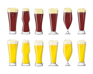 Beer glasses set.