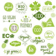 Bio, Eco, Organic logos, icons, labels, tags. Hand drawn set with vegan, natural badges