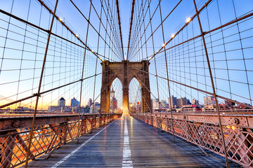 Foto auf AluDibond Brooklyn Bridge New York, Brooklyn bridge at nigth, USA