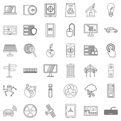 Connection icons set, outline style