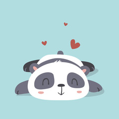 vector cartoon kawaii style cute panda in love illustration
