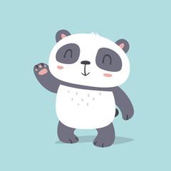 vector cartoon kawaii style cute panda say hello illustration