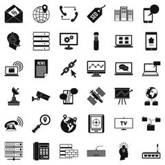 Smartphone icons set, simple style