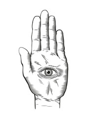 Vintage engraving style Hamsa Spiritual hand with the all-seeing eye in palm. Occult design vector illustration