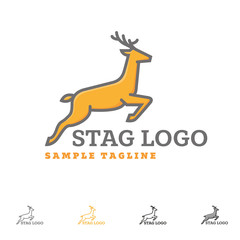 Jumping Stag Vector Logo template