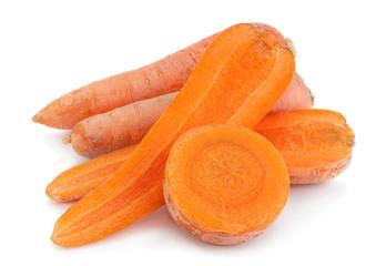 Ripe carrot on white background