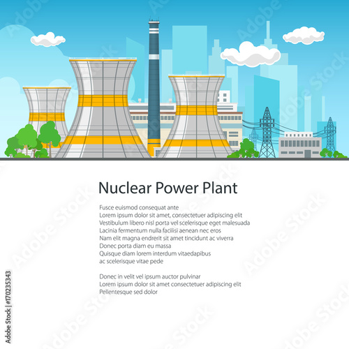 Nuclear power plant on the background of the city thermal station nuclear power plant on the background of the city thermal station and text nuclear ccuart Choice Image