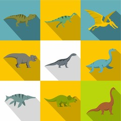 Types of dinosaur icon set, flat style