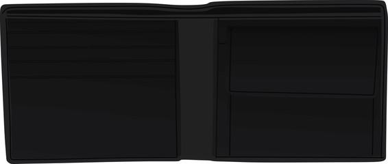 Men open black wallet. vector illustration