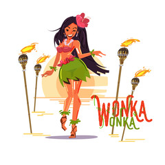 cute hula girl in hibiscus necklace with lighting pole. Hawaii concept. character design - vector