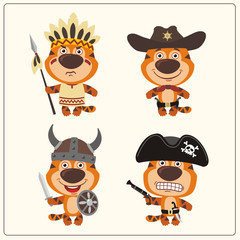 Set isolated tiger in cartoon style for design children holiday and birthday. Funny tiger in costume of viking, american indian, cowboy and pirate.