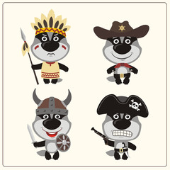 Set isolated badger in cartoon style for design children holiday and birthday. Funny badgers in costume of viking, american indian, cowboy and pirate.