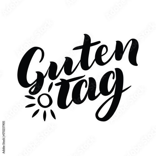 word hello good day in german fashionable calligraphy vector illustration