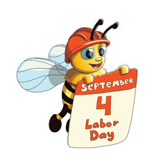 Illustration of a Cute Bee with Labor Day poster