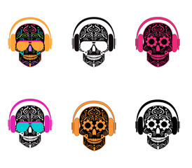 Skull icon with headphones and sunglasses