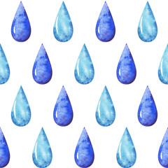 hands drawn watercolor autumn seamless pattern with blue raindrops on white background for your design