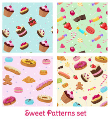 Colorful Pastry And Confectionery Patterns Set