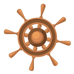 Ship wheel marine wooden vintage vector illustration isolated on white Web site page and mobile app design Vector illustration