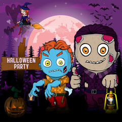 Halloween Party Design template, with zombie,witch,  pumpkin and lamp