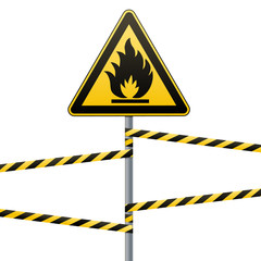 Caution - fire hazard Combustible environment. Flammable liquids or surface. Barrier tape. Vector illustrations.