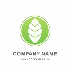 Simple Organic Herbal Green Leaf Nature Farm Vegetables Agriculture Business Company Stock Vector Logo Design Template