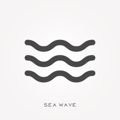 Silhouette icon sea wave