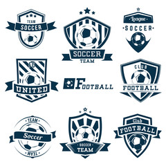 Set of soccer football logos, emblems and badges
